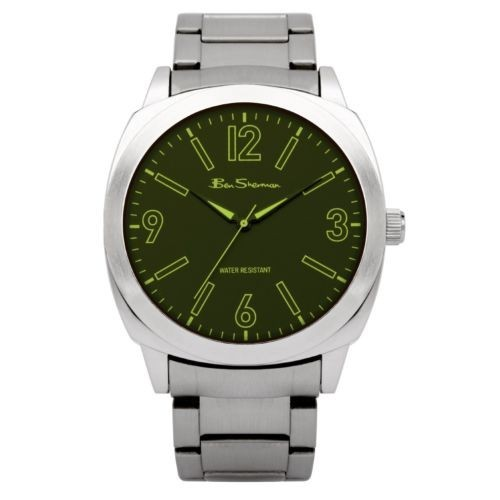 Ben Sherman Mens Silver Watch With Green Face