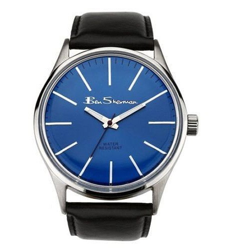 Ben Sherman Mens Black Watch With Blue Face