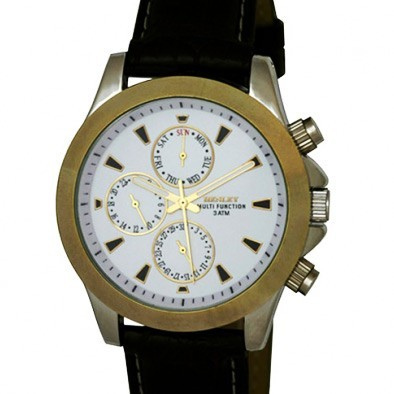 Henley Gents Polished Chrome Case Watch - Chrome / Gold / White