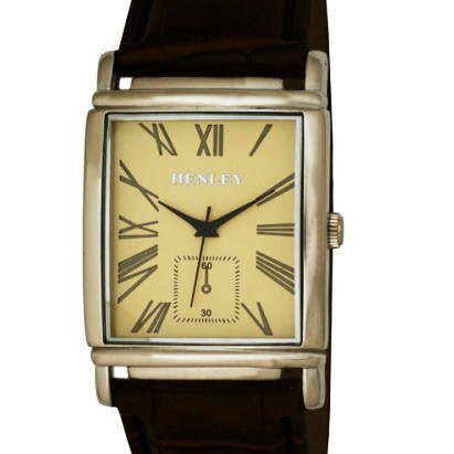 Henley Gents Rectangular Case Watch - Chrome & Buff Dial