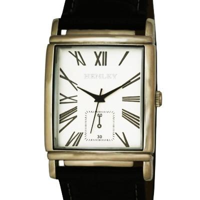 Henley Gents Rectangular Case Watch - Chrome & Silver Dial
