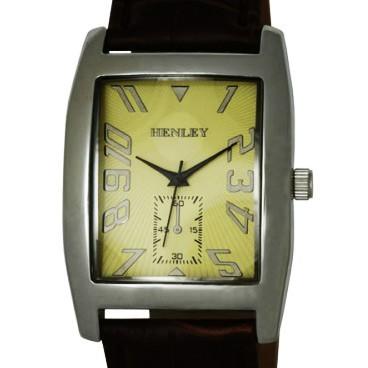 Henley Gents Silver Rectangular Case Watch - Buff Dial & Brown Strap