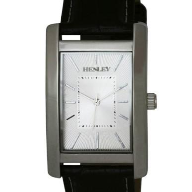 Henley Gents Silver Rectangular Case Watch - Silver Dial & Black Strap