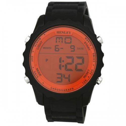 Henley Mens Black Strapped Orange Dial Watch