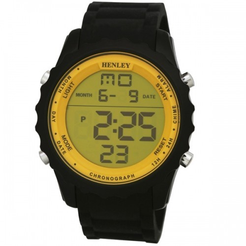 Henley Mens Black Strapped Yellow Dial Watch