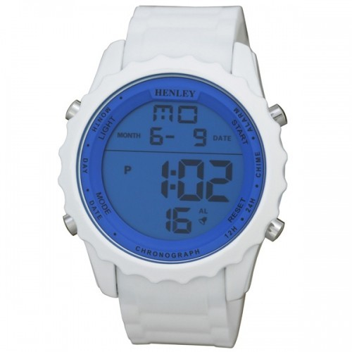 Henley Mens White Strapped Blue Dial Watch