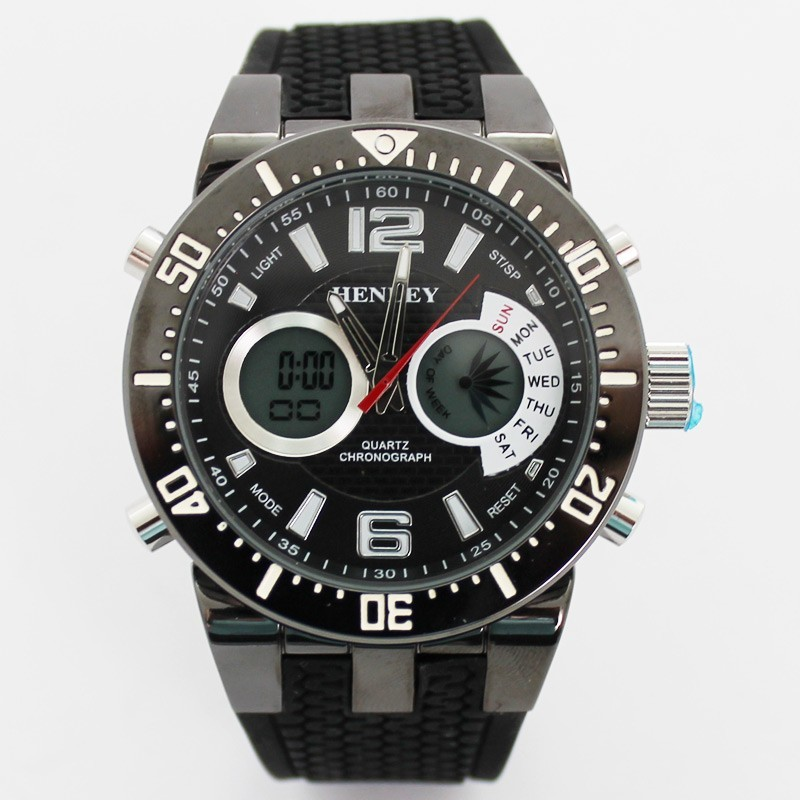 Henley Mens Large Polished Sports Watch - Black