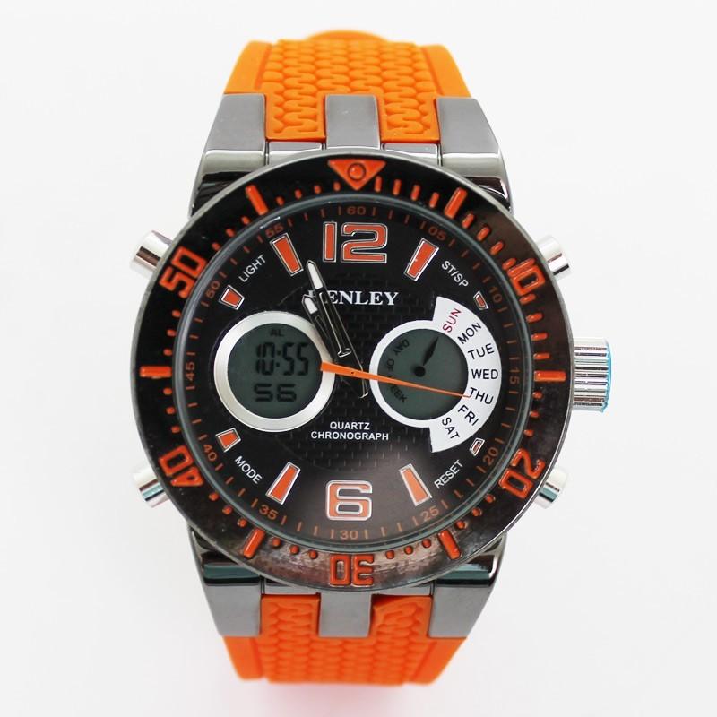 Henley Mens Large Polished Sports Watch - Orange