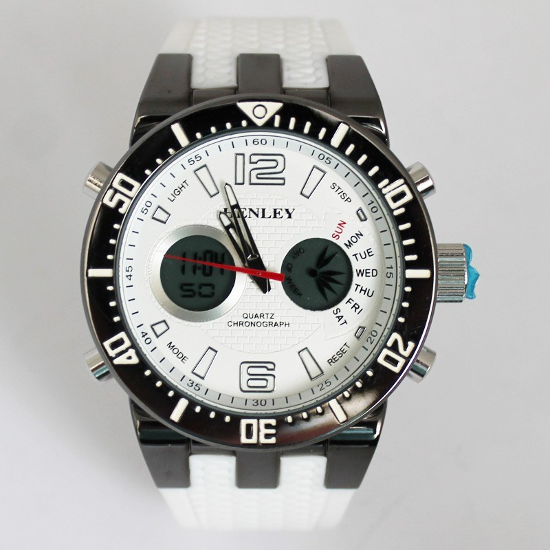 Henley Mens Large Polished Sports Watch - White