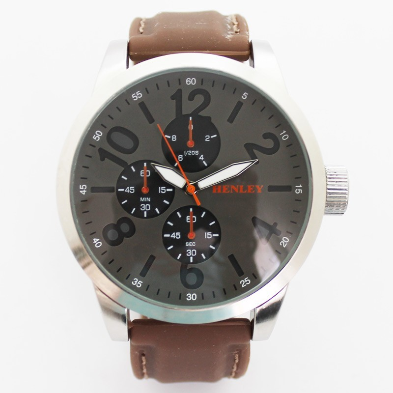 Henley Mens Large Round Dial Watch - Brown and Grey