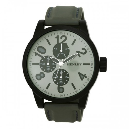 Henley Mens Large Round Dial Watch - Grey and Silver