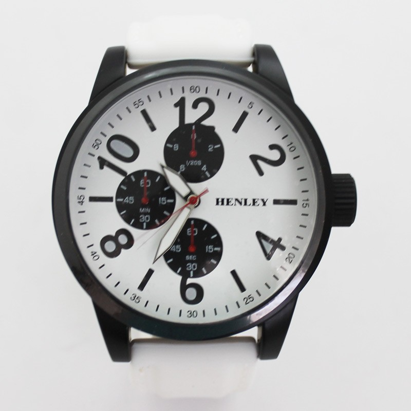 Henley Mens Large Round Dial Watch - White & Black
