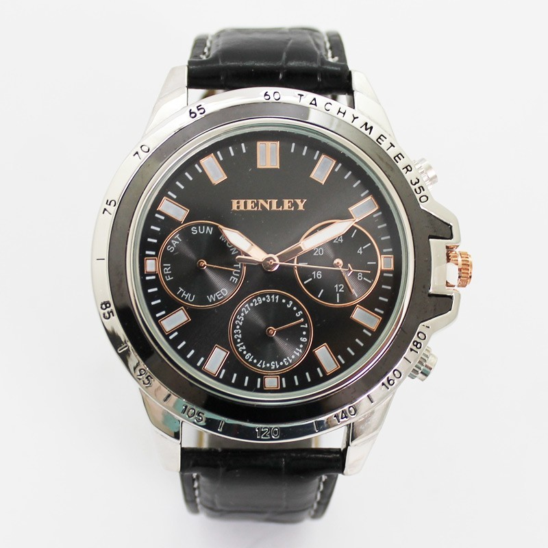 Henley Mens Round Polished Watch - Black