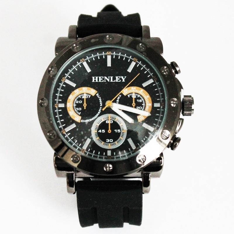 Henley Men's 3 Dial Design Watch - Black