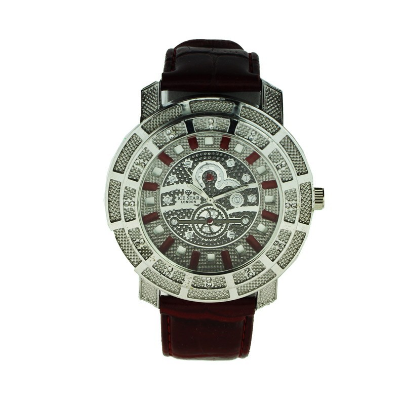 Ice Star Mens Watch With Bling - Silver / Red