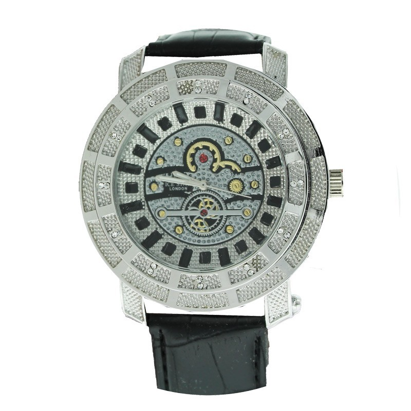 Ice Star Mens Watch With Bling - Silver / Black With Black Strap