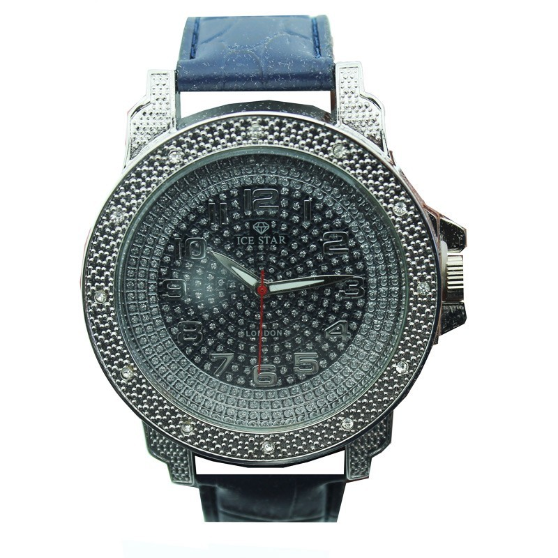Ice Star Mens Watch With Bling - Silver With Blue Strap