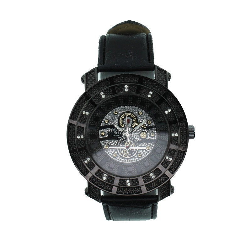 Ice Star Mens Black Watch With Bling