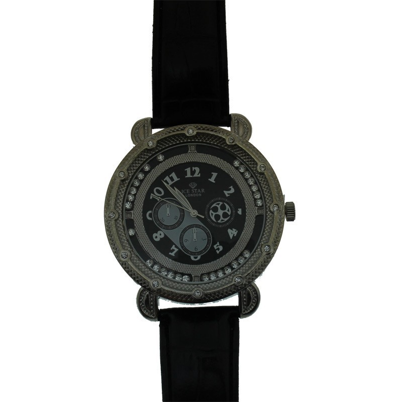 Ice Star Mens Watch With Bling - Silver With Black Strap