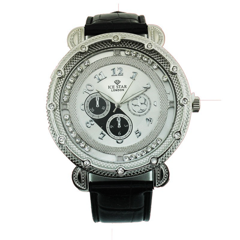 Ice Star Mens Watch With Bling - Silver / Black