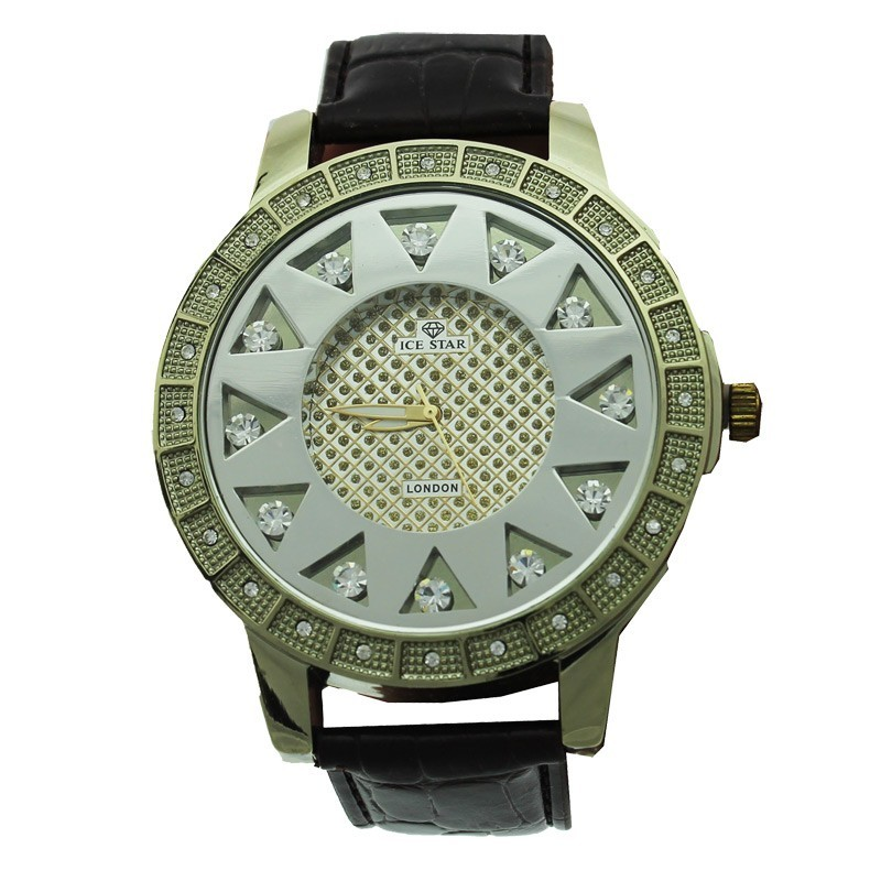 Ice Star Mens Watch With Bling - Gold With Burgundy Strap