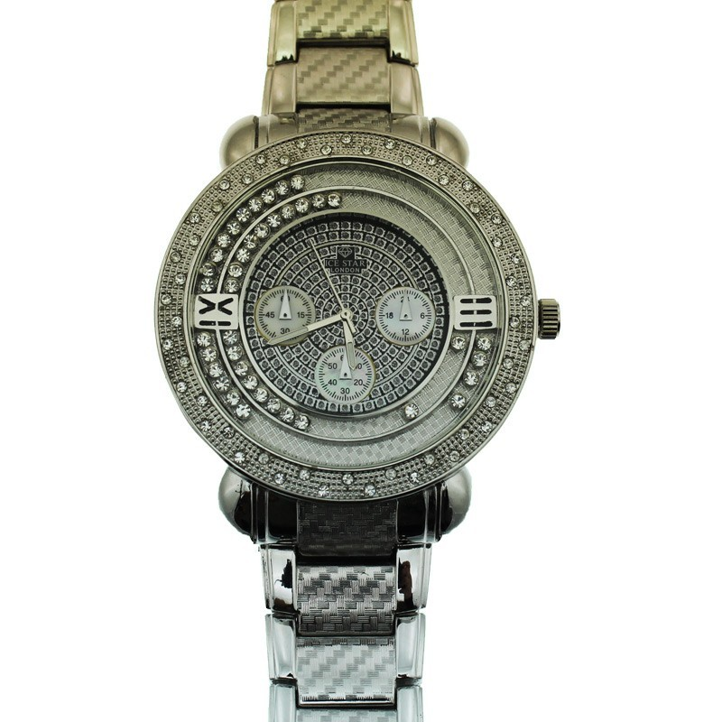 Ice Star Mens Watch With Bling - Silver
