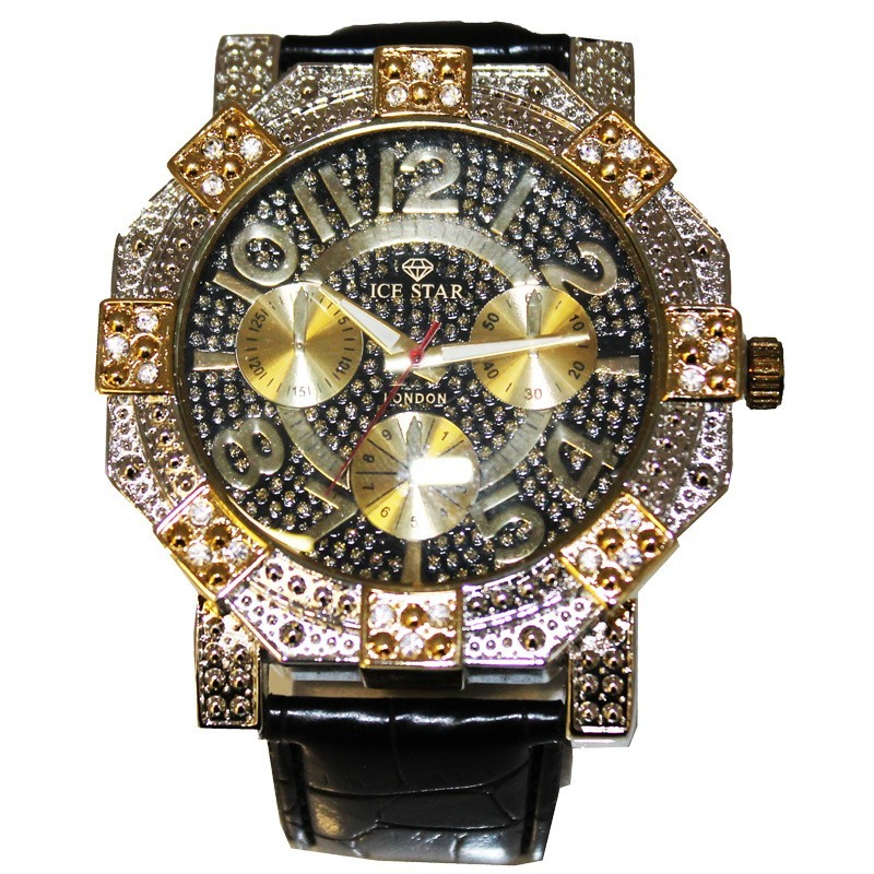 Ice Star Large Case Watch - Black / Gold