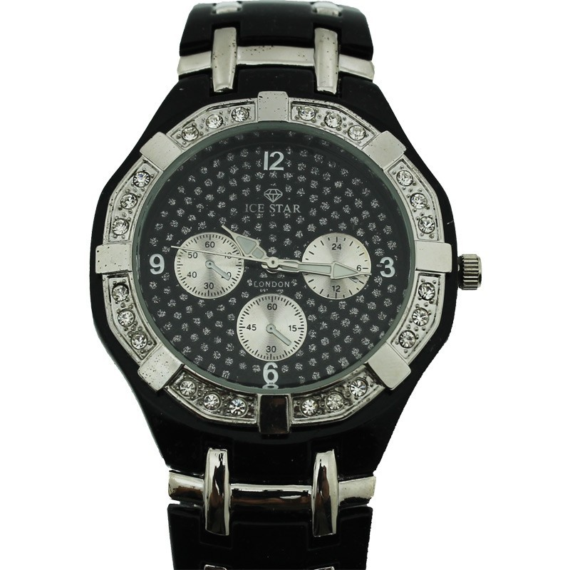 Ice Star Mens Watch - Black / Silver