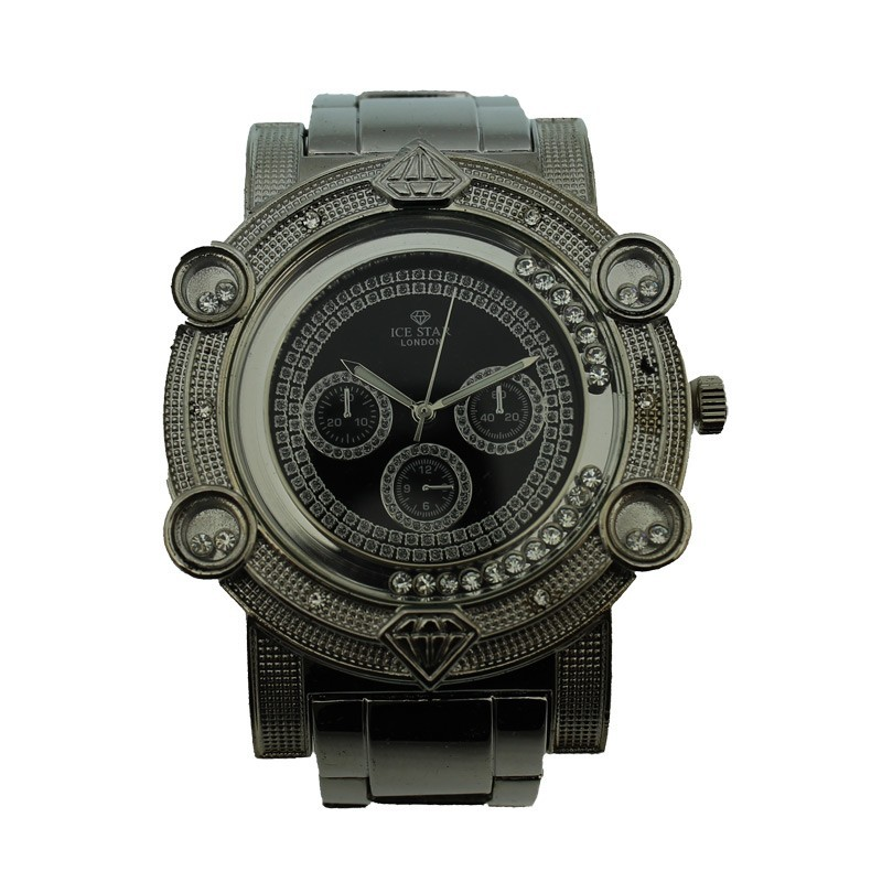 Ice Star Mens Watch - Silver With Black Face