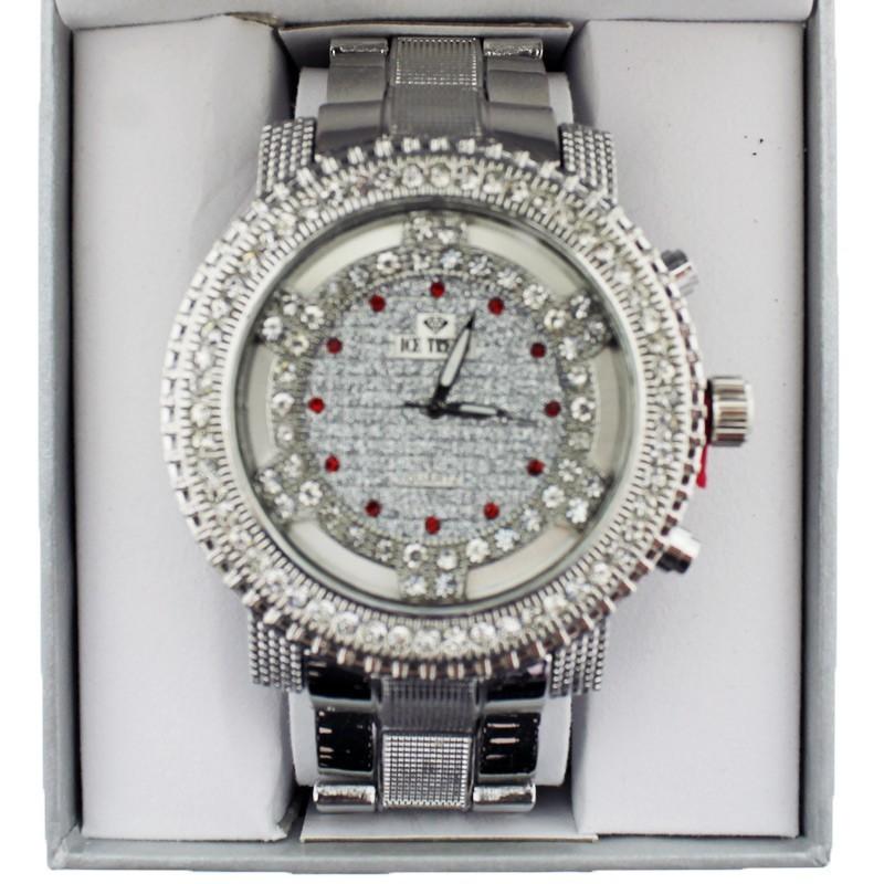 Ice Trend Wrist Watch Silver Multi Red & White Diamond Border