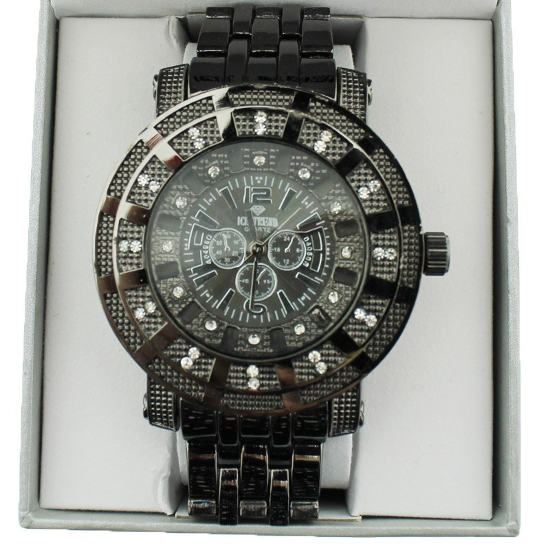 Ice Trend Wrist Watch Black Metallic Diamond Border