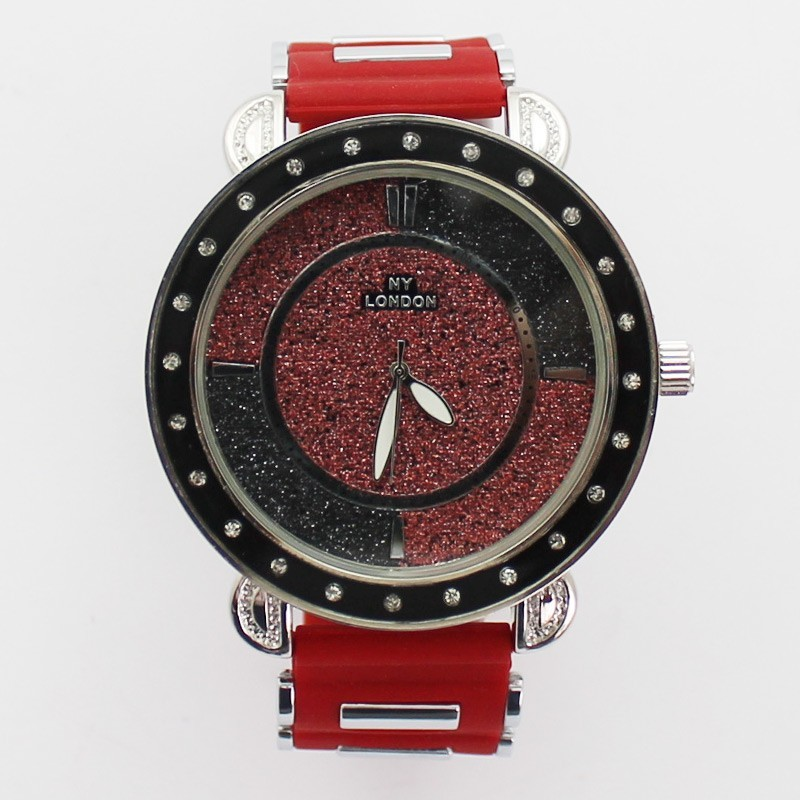 NY London Mens Watch with Glitter Background - PNP / Red