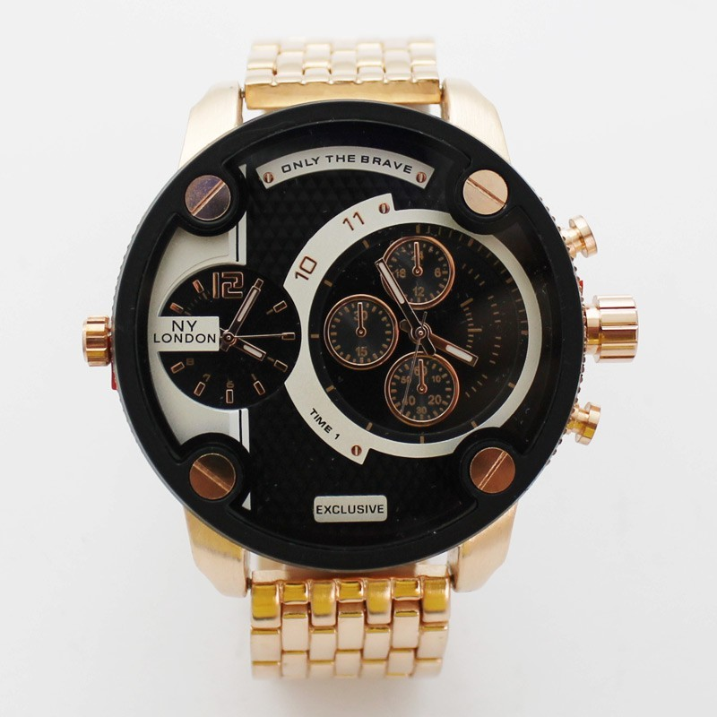 NY London Mens Large Multi Dial Design Watch - Black / Rose Gold