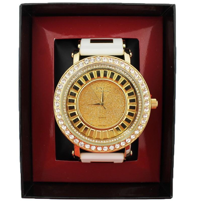 NY London Mens Crystal Stone Wrist Watch Big Dial - White