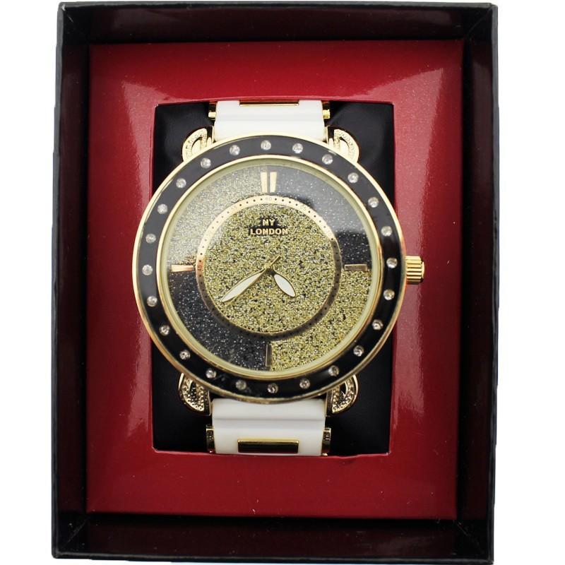NY London Mens Crystal & Glitter Wrist Watch Big Dial - White