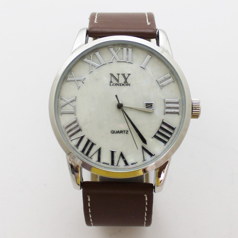 NY London Mens Classic Style Watch - Silver/Brown