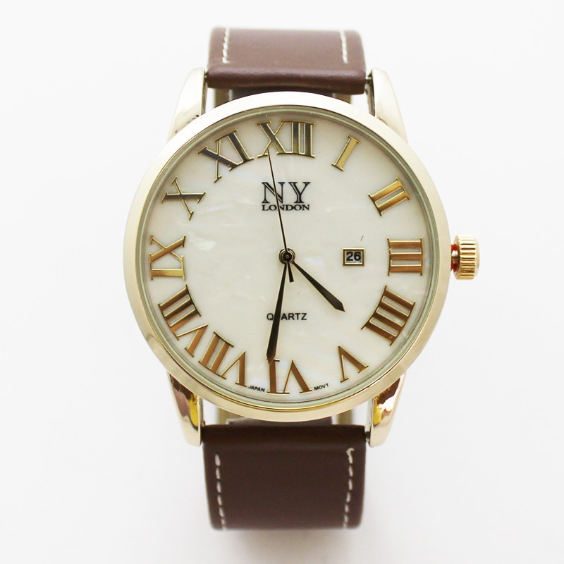NY London Mens Classic Style Watch - Gold / Brown