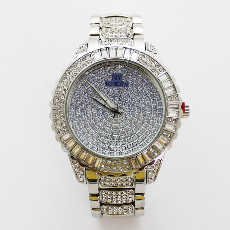 NY London Mens Bling Style Watch - Silver