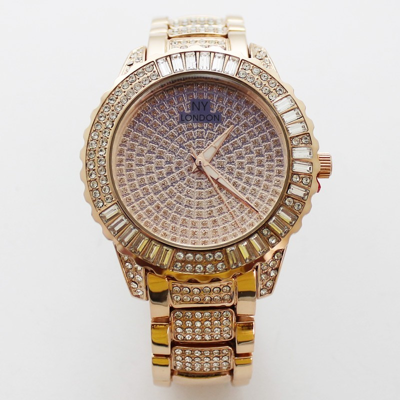 NY London Mens Bling Style Watch - Rose Gold