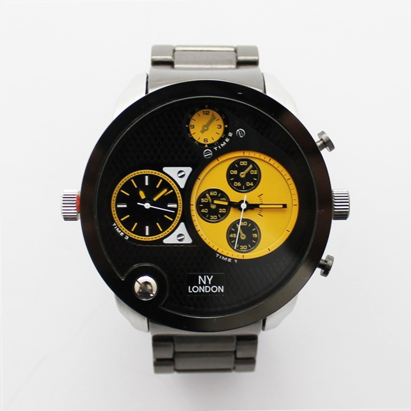 NY London Mens 3 Dial Large Watch - Yellow