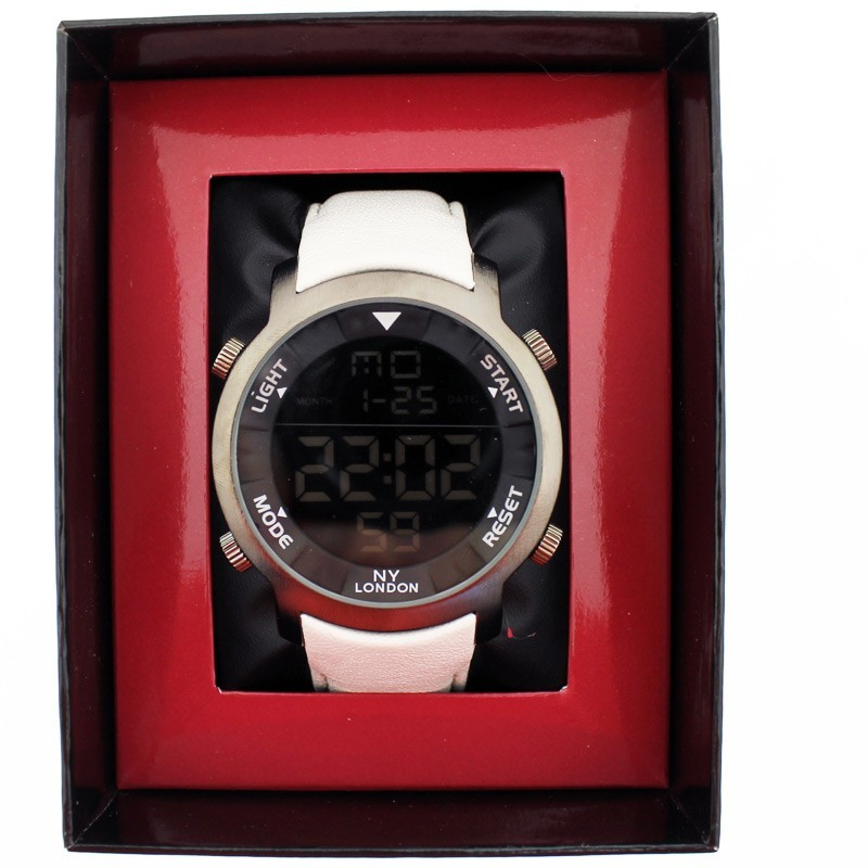 NY London Mens Wrist Digital Watch - White