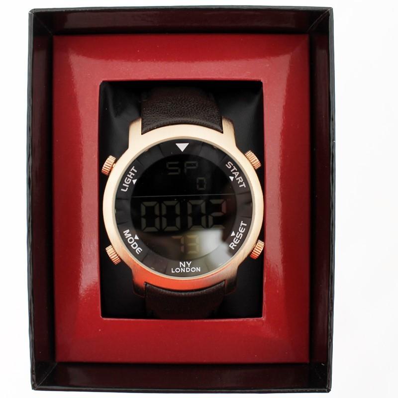 NY London Mens Wrist Digital Watch - Brown