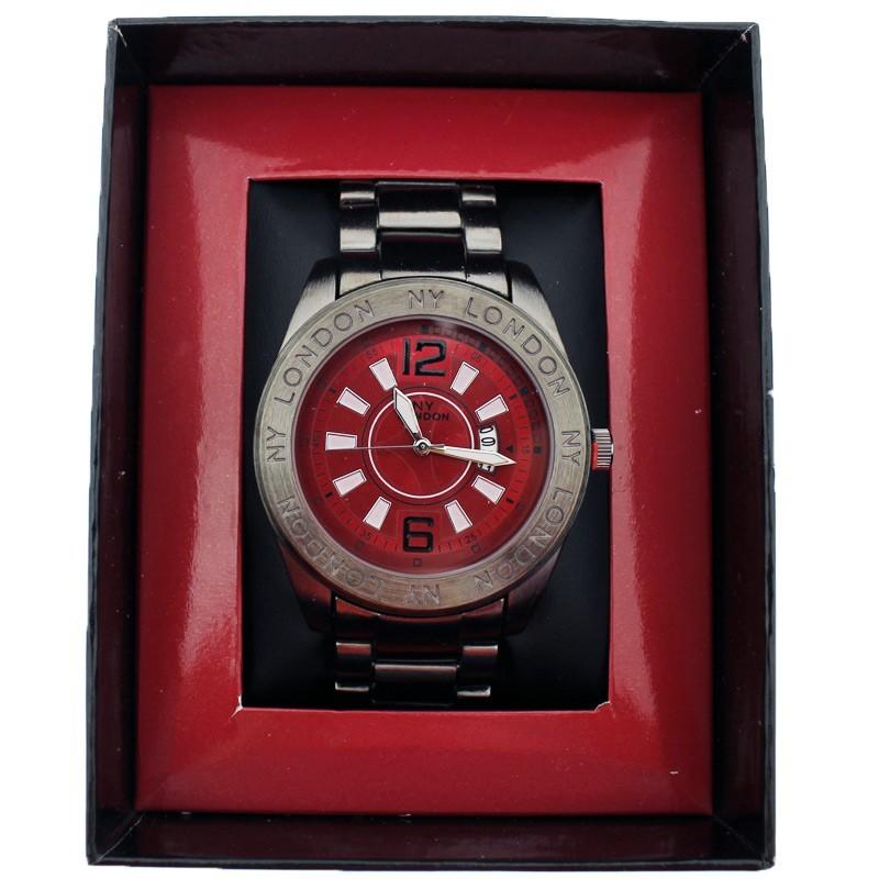 NY London Mens Wrist Metal Watch - Red