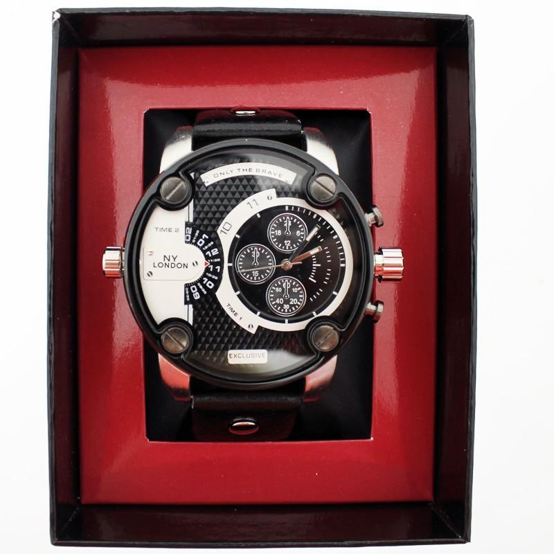 NY London Mens Big Dial Wrist Watch - Silver