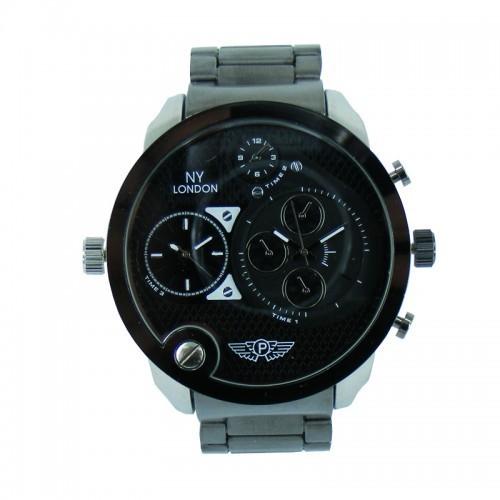 NY London Triple Time Watch - Black
