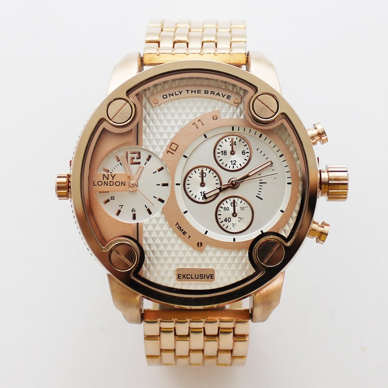 NY London Mens Large Multi Dial Design Watch - White / Rose Gold