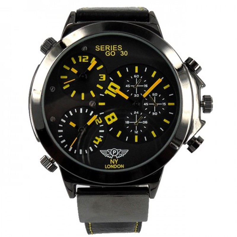 NY London Mens 3 Time Zone Leather Band Watch - Black / Yellow