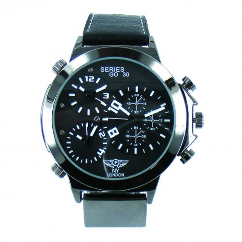 NY London Mens 3 Time Zone Leather Band Watch - Black / White