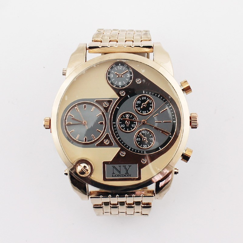 NY London Mens 3 Dial Large Watch - Rose Gold