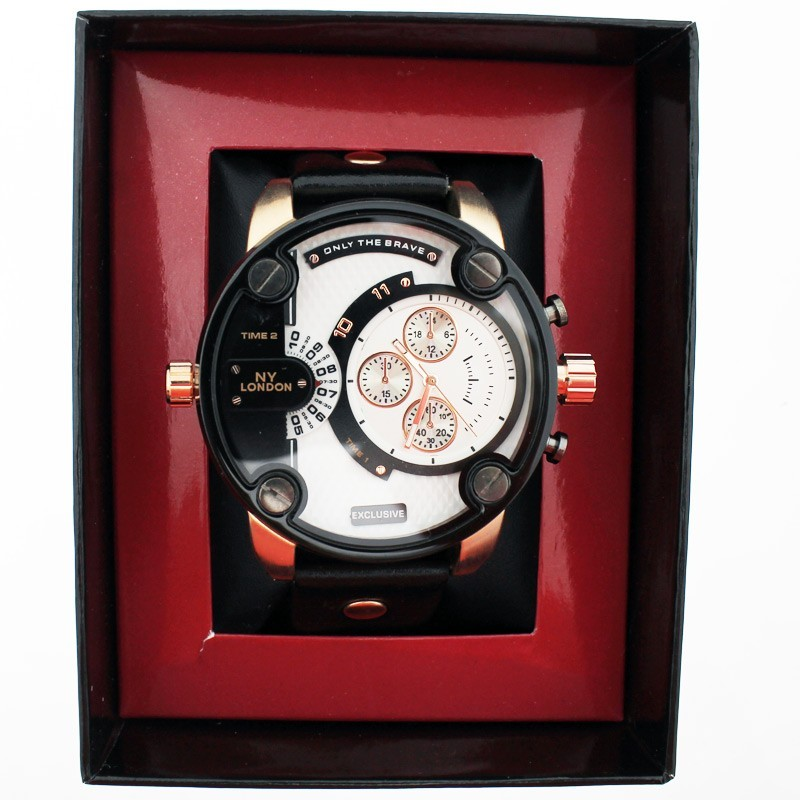 NY London Mens Big Dial Wrist Watch - Black / Rose